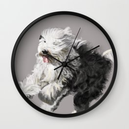 Old English Sheepdog On the Move Wall Clock
