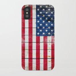 Distressed American Flag On Wood Planks - Horizontal iPhone Case