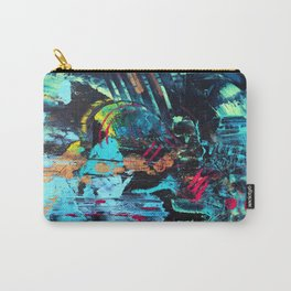 Undaunted B - Abstract in Black and Turquoise Carry-All Pouch