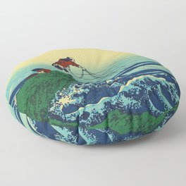 Vintage Japanese Art - Man Fishing Floor Pillow