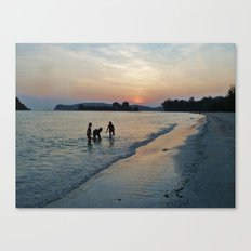 Silhouettes on the Shore Canvas Print