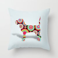 dogs Throw Pillows featuring dogs  by mark ashkenazi