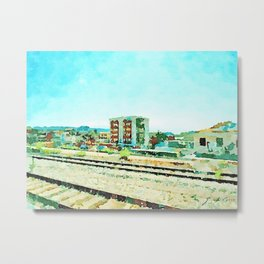 Pescara: landscape with tracks and buildings from the train window Metal Print