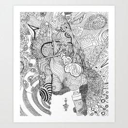 Girl Blowing Bubbles Art Print