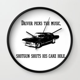 """Driver picks the music"" - Dean Winchester Quote Print Wall Clock"