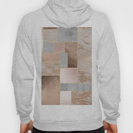 Copper and Blush Rose Gold Marble Quadrangle Geometrical Shapes Hoody