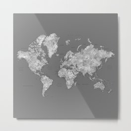 Dark gray watercolor world map with cities, square Metal Print