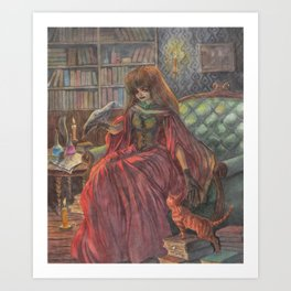 Witch and her Cats Art Print