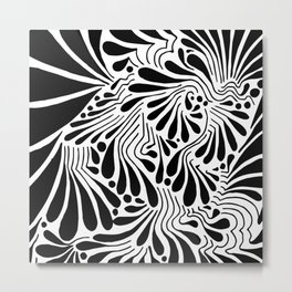 MARY ZOLES DESIGN - Düsseldorf - Abstract Black and White Ink Art Illustration Drawing - (P12 615) Metal Print