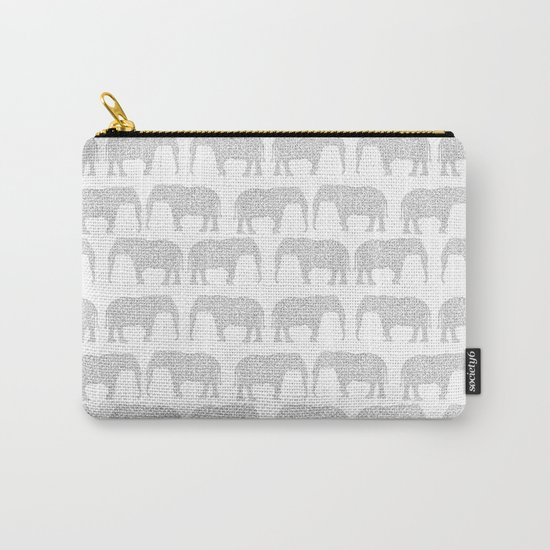 Geometric Elephant grey monochromatic minimal gray and white kids children pattern print  Carry-All Pouch