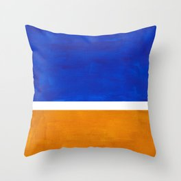 Phthalo Blue Yellow Ochre Mid Century Modern Abstract Minimalist Rothko Color Field Squares Throw Pillow