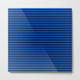 Across striped black and blue background Metal Print