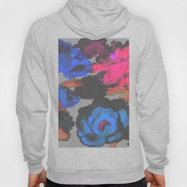 Muted Colors Flower Retro Pop Art Psychedelic in Gray Hoody