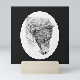 BLACK FRIESIAN HORSE HEAD Mini Art Print