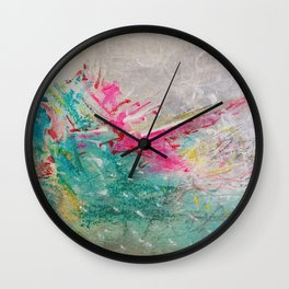 Sweet madness - Abstract mixed media composition Wall Clock