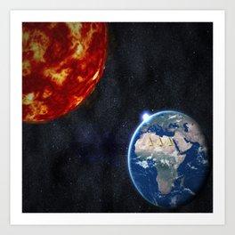Sun, Ankh, Earth, Stars. Art Print