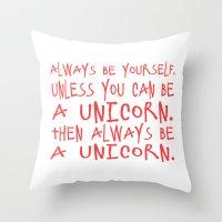 unicorns Throw Pillows featuring unicorns! by sreysa'art