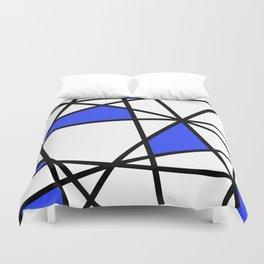 Geometric Modern triangles - white blue Duvet Cover