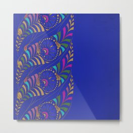 Caravan Ornamental Pattern:  Stylized feather or paisley in hot colors on indigo blue Metal Print