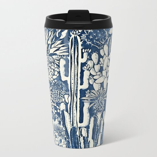 Indigo cacti Metal Travel Mug