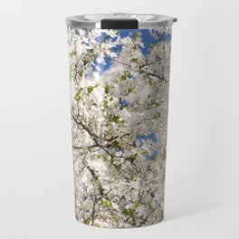 white flowers of Cerasus Travel Mug