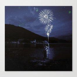Constelaciónes de una estrella spiegel Canvas Print
