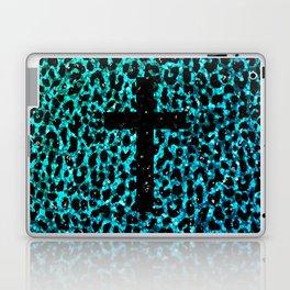 Aqua Sparkle Leopard Cross Laptop & iPad Skin