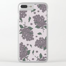 Purple Syringa floral pattern Clear iPhone Case