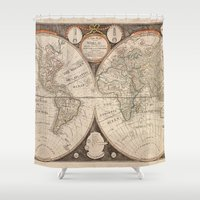 world map Shower Curtains featuring World Map by Le petit Archiviste