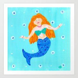 Whimsical Mermaid Art Art Print