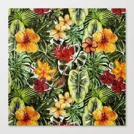 Tropical Vintage Exotic Jungle Flower Flowers - Floral watercolor pattern Canvas Print