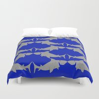 sharks Duvet Covers featuring Sharks by superdumb