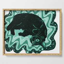 Cat-Nipped in Teal Serving Tray