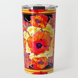 RED POPPIES DECORATIVE FLORAL ABSTRACT Travel Mug