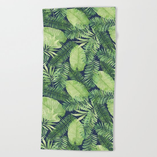Tropical Branches Pattern on Dark 02 Beach Towel