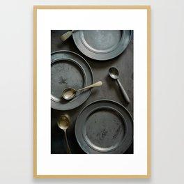 Vintage kitchen table setting. Framed Art Print