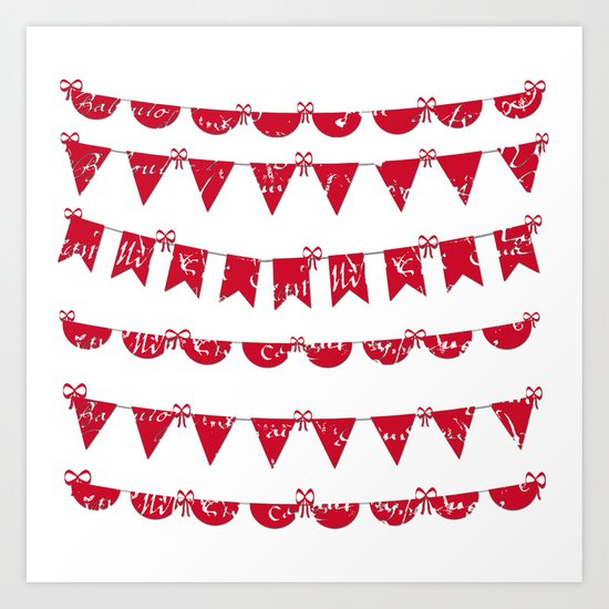 Red and White French script bunting Art Print