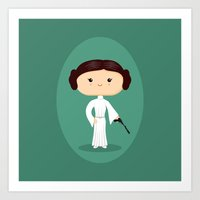 leia Art Prints featuring Leia by Sombras Blancas Art & Design