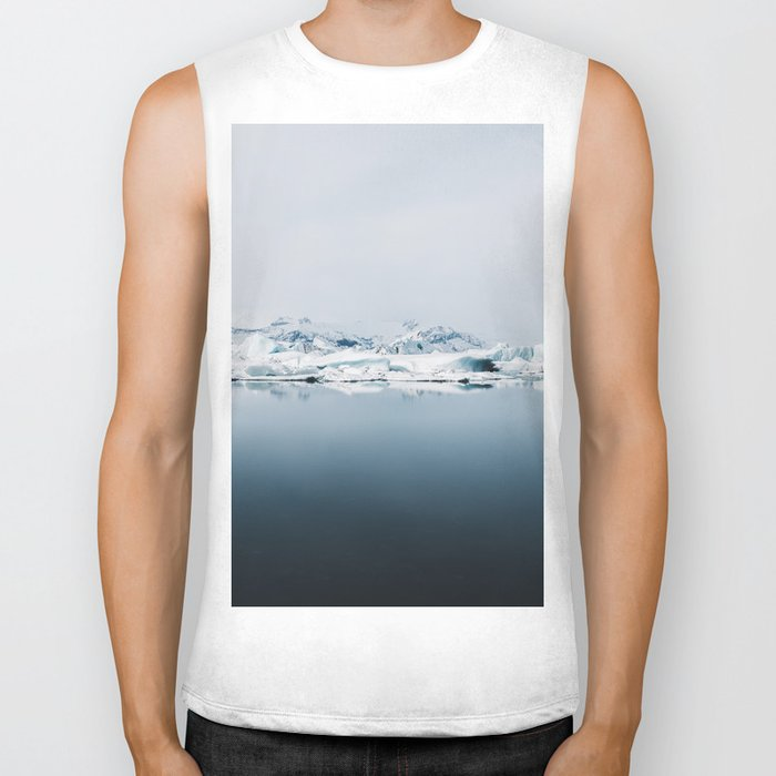 Ethereal Glacier Lagoon in Iceland - Landscape Photography Biker Tank