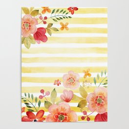 Flowers & Stripes 4 Poster