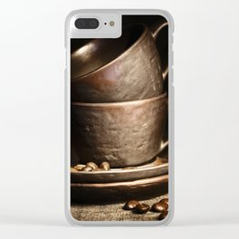 coffee cups and beans on rustic table Clear iPhone Case