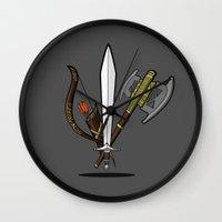 aragorn Wall Clocks featuring Fellowship Starter Kit by ShiT