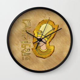 Pharaoh Hieroglyphics Egyptian Folk Art Wall Clock