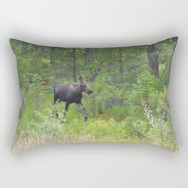 Moose calf emerges from the forest in Jasper National Park Rectangular Pillow