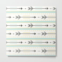 Boho gray yellow mint green polka dots arrows stripes Metal Print