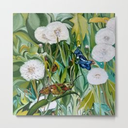 Grasshoppers and Dandelions (Oil Painting) Metal Print