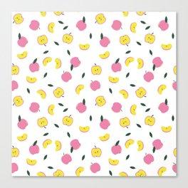 Pink Apples Pattern Canvas Print