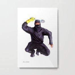 Bathroom Ninja Metal Print