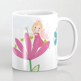 Summer Flowers, Butterflies and Fairy Pattern Wallpaper Coffee Mug
