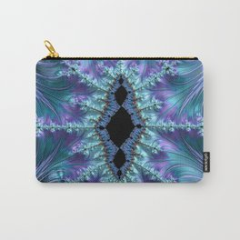 Feminine Elegant Fancy Stylish Swoosh Swirl Flourish Fractal Abstract Purple Aqua Turquoise Art Carry-All Pouch